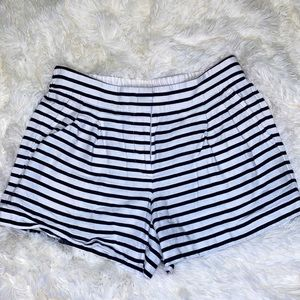 J. Crew Blue White Striped Pleated Shorts Size 4